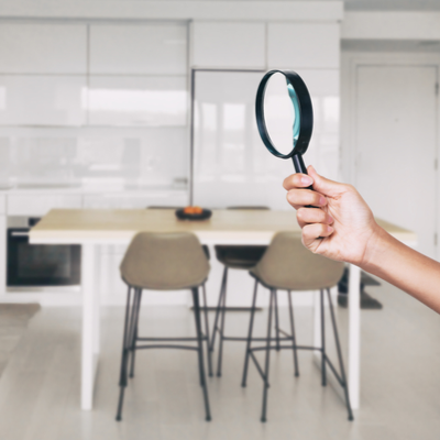 magnifying glass in home
